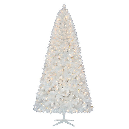 7.5 ft. Pre-Lit LED White North Hill Spruce Artificial Christmas Tree with 500 Warm White Lights