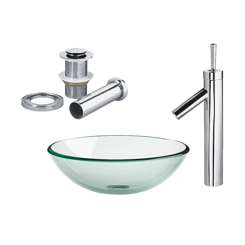 Magick Woods Clear 16.50-inch x 6.50-inch x 16.50-inch Circular Tempered Glass Bathroom Sink with Faucet