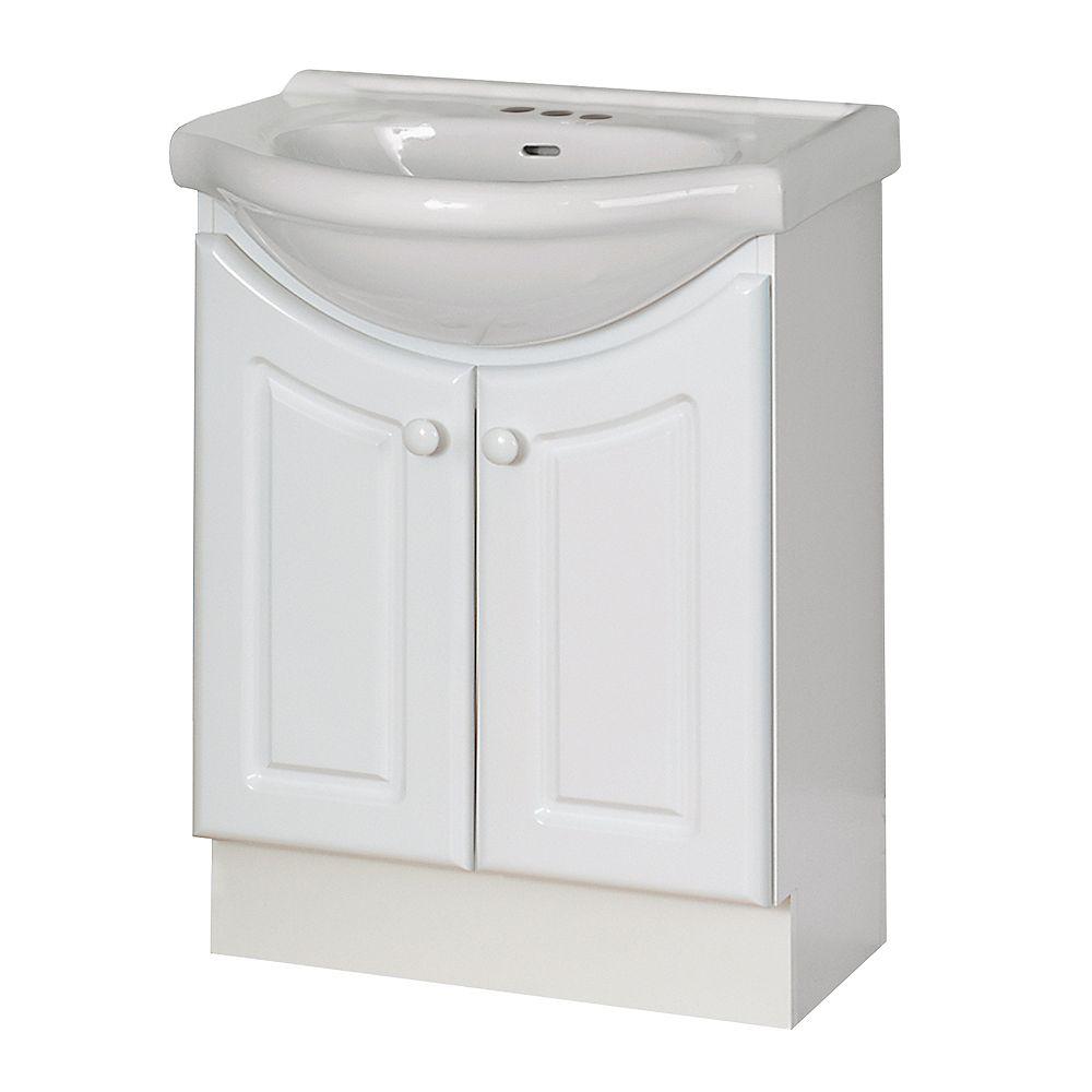 Magick Woods Eurostone 23.62-inch W 2-Door Freestanding Vanity in White With Ceramic Top in White