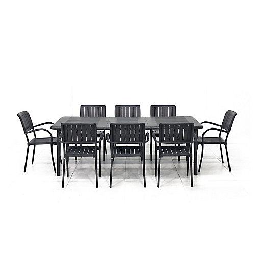 Maestrale Patio Dining Table with 8 Musa Armchairs in Charcoal