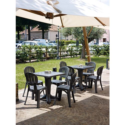 Giove Resin Patio Dining Set with 4 Elba Side Chairs in Charcoal