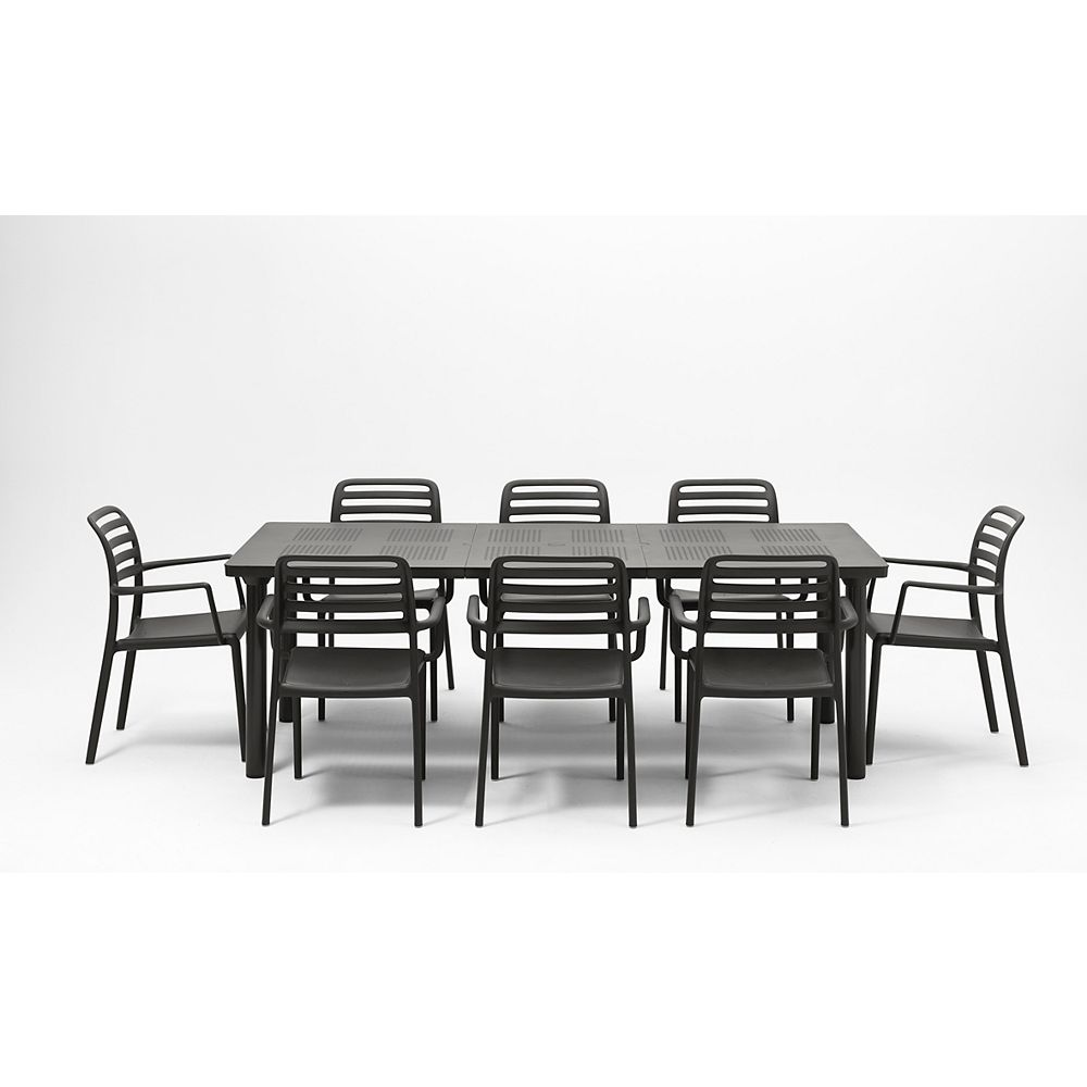 Nardi Libeccio Extendable Outdoor Dining Table with 8 Costa Armchairs in Charcoal