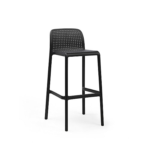 LIDO Outdoor Resin Barstool in Charcoal (4-Pack)