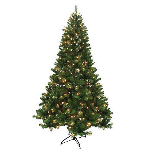 Sapin de Noël illuminé à 400 ampoules à DEL Franklin, 7,5 pi