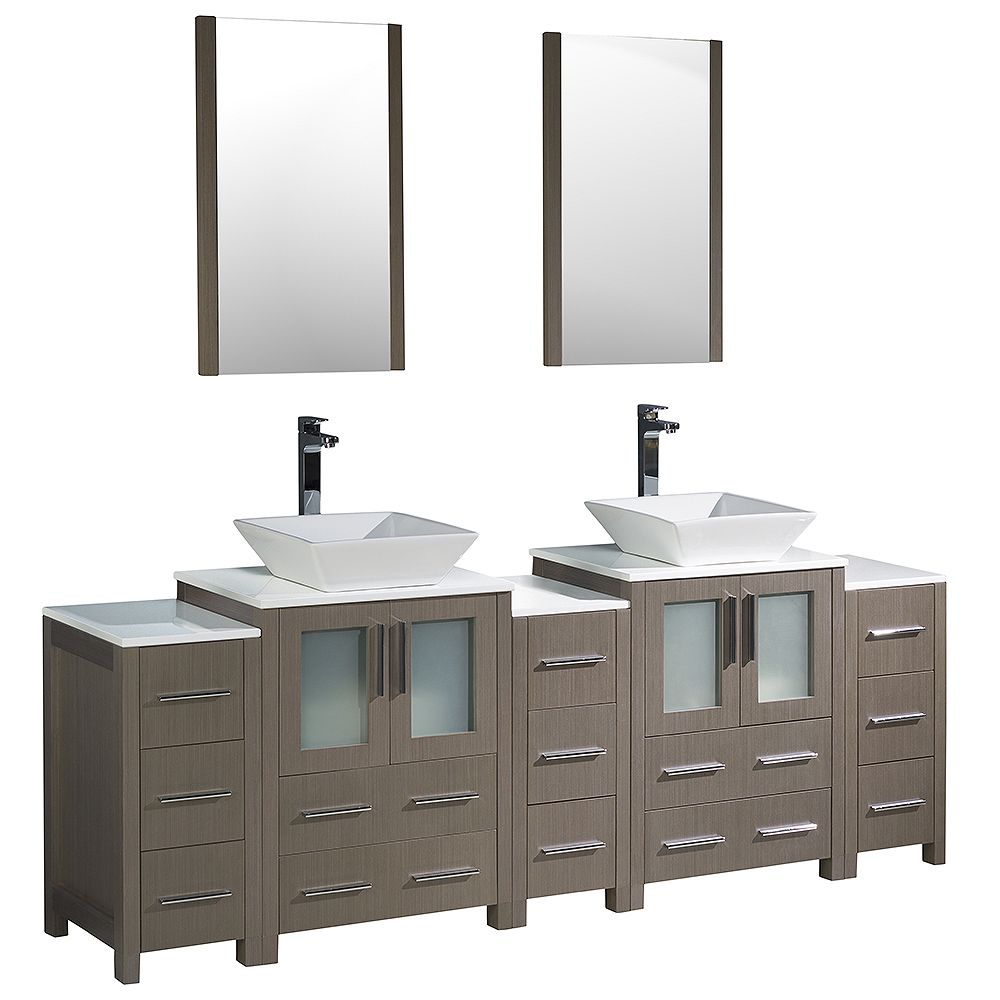 Fresca Torino 84-inch W Double Vanity in Grey Oak with 3 Side Cabinets and Vessel Sinks