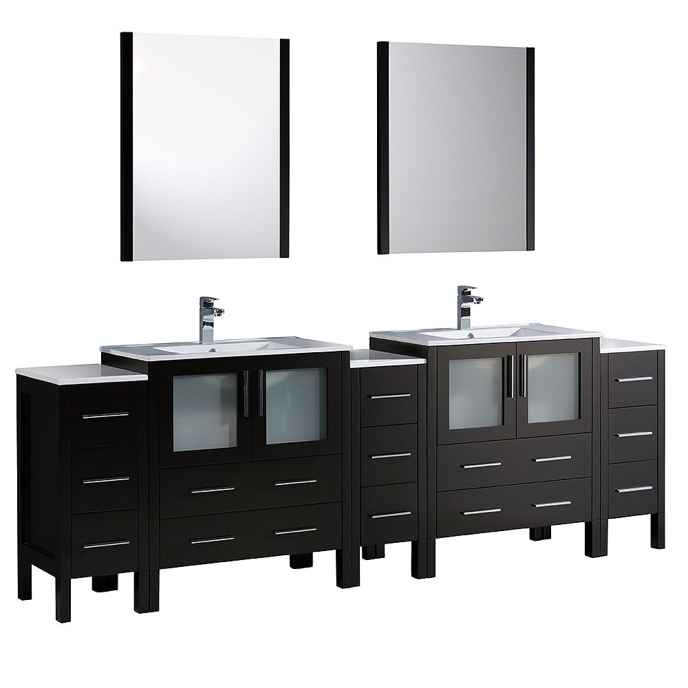 Fresca Torino 96-inch W Double Vanity in Espresso with 3 Side Cabinets and Integrated Sinks