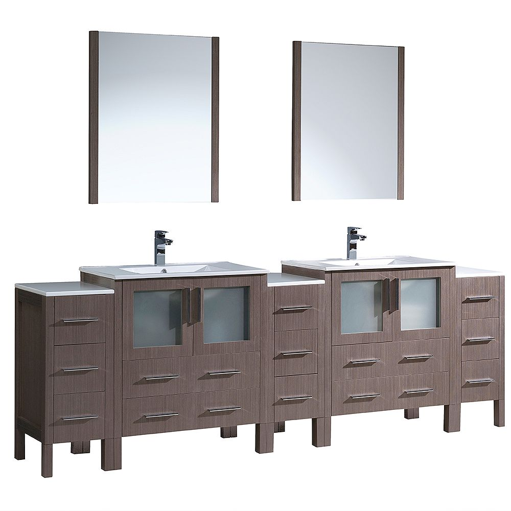 Fresca Torino 96-inch W Double Vanity in Grey Oak with 3 Side Cabinets and Integrated Sinks