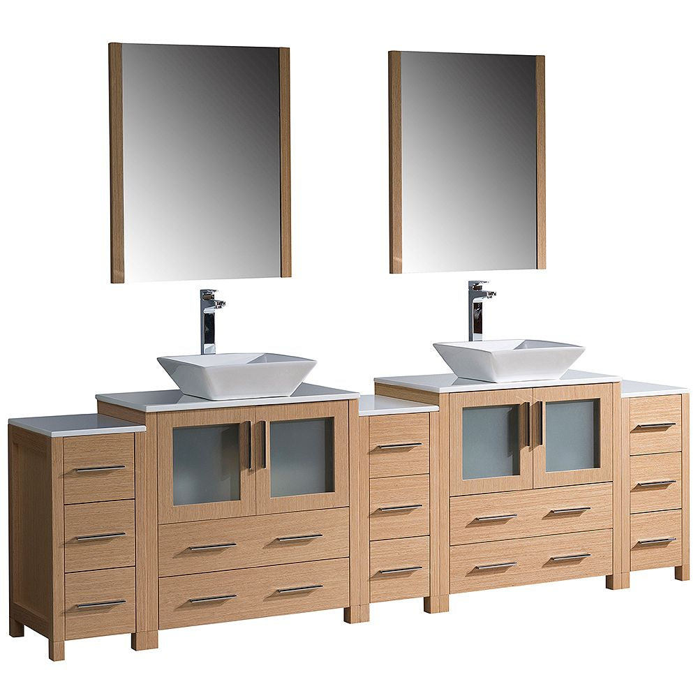 Fresca Torino 96-inch W Double Vanity in Light Oak with Vessel Basins and Mirror