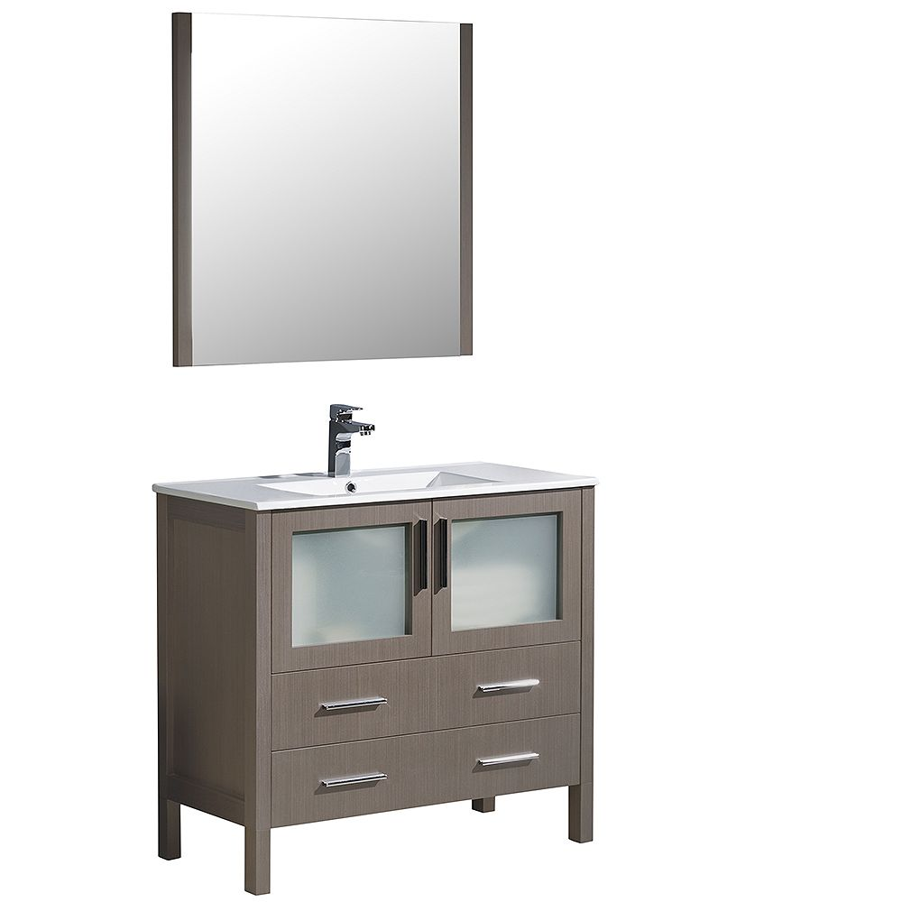Fresca Torino 36-inch W Vanity in Grey Oak with Integrated Sink and Mirror