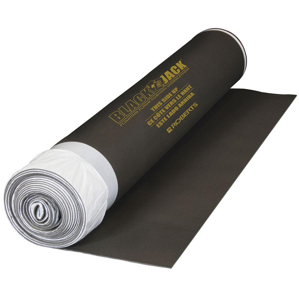 Roberts Black Jack 100 sq. ft. 28 ft. x 43-inch x 2.5 mm Premium 2-in-1 Underlayment for Laminate Wood Floors