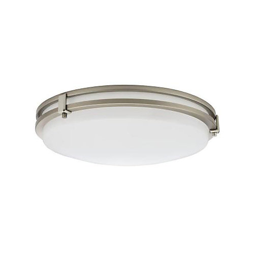 Saturn 16-inch Integrated 3000K LED Flush Mount Light Fixture in Brushed Nickel
