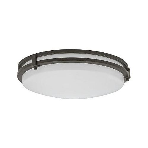 Lithonia Lighting Saturn 16-inch Round LED Flush Mount Fixture in Antique Bronze - ENERGY STAR®