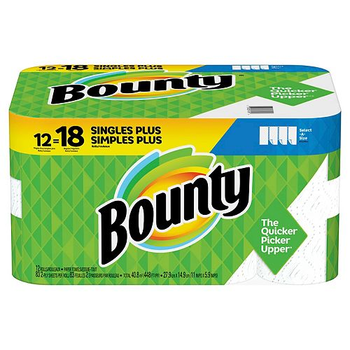 Bounty Bounty Select-A-Size Paper Towels, White, 12 Single Plus Rolls = 18 Regular Rolls