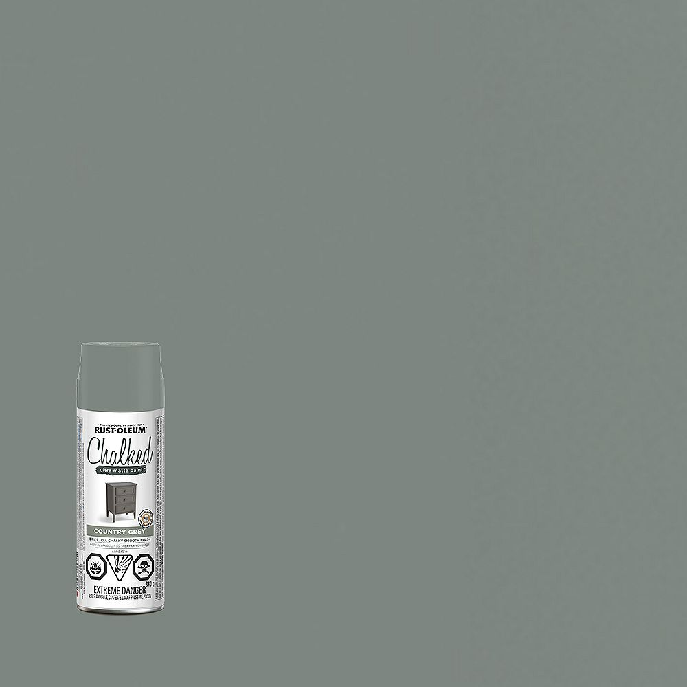 Rust-Oleum Chalked Ultra Matte Paint in Country Grey, 340G Aerosol Spray Paint