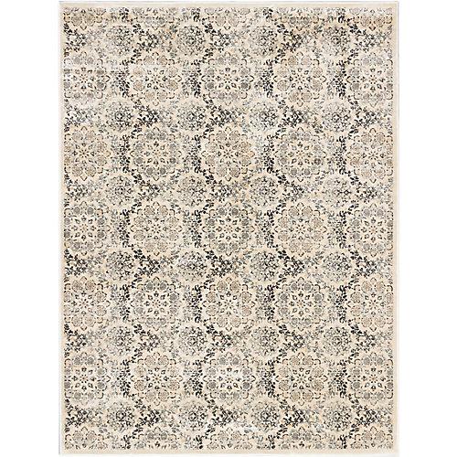 Carpette, 7 pi 10 po x 10 pi 2 po d'intérieur, style transitionnel, rectangulaire, blanc cassé Rosalyn