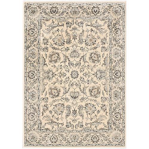 Carpette d'intérieur, 5 pi 3 po x 7 pi 3 po, style traditionnel, rectangulaire, blanc cassé Prescilla