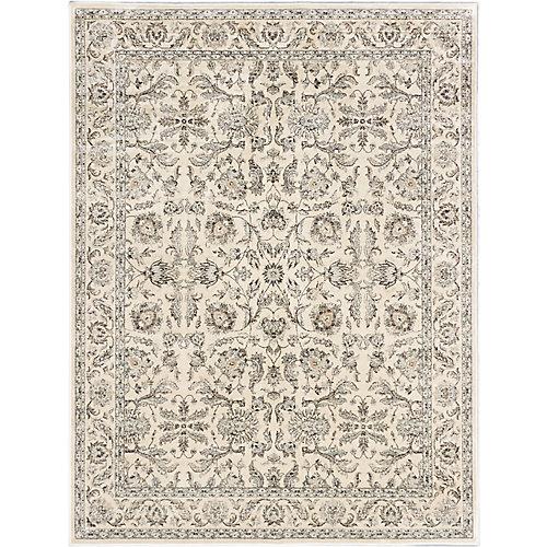 Carpette, 7 pi 10 po x 10 pi 2 po d'intérieur, style traditionnel, rectangulaire, blanc cassé Prescilla