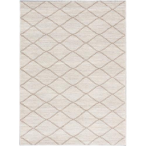 Carpette d'intérieur, 5 pi 3 po x 7 pi 3 po, style transitionnel, rectangulaire, blanc cassé Noto