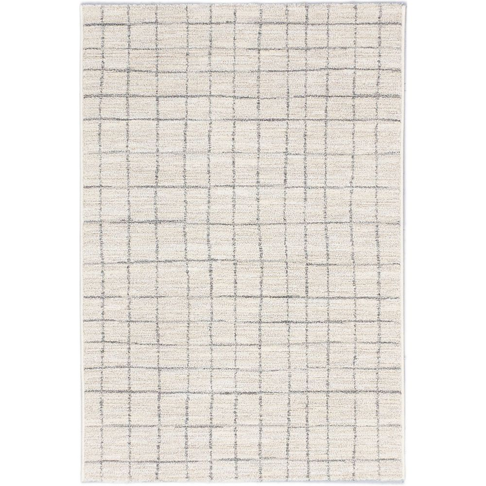 ECARPETGALLERY Carpette d'intérieur, 5 pi 3 po x 7 pi 3 po, style transitionnel, rectangulaire, blanc cassé Noto