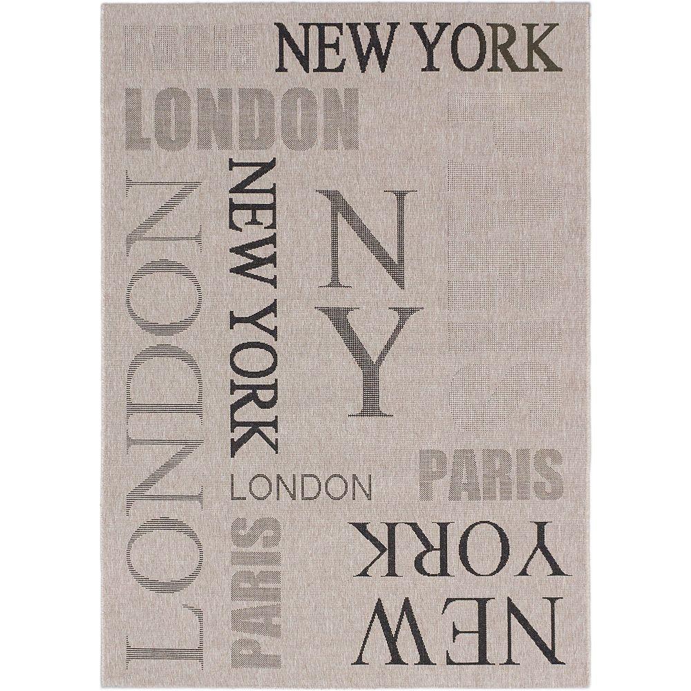ECARPETGALLERY Carpette, 3 pi 11 po x 5 pi 7 po, rectangulaire, gris Cosmopolitan