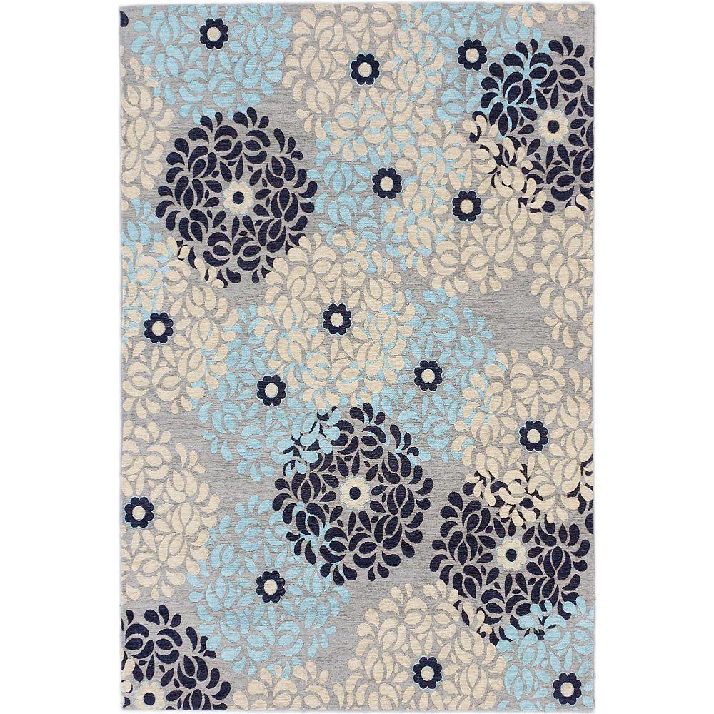 ECARPETGALLERY Carpette d'intérieur, 4 pi x 6 pi, style transitionnel, rectangulaire, gris Portico