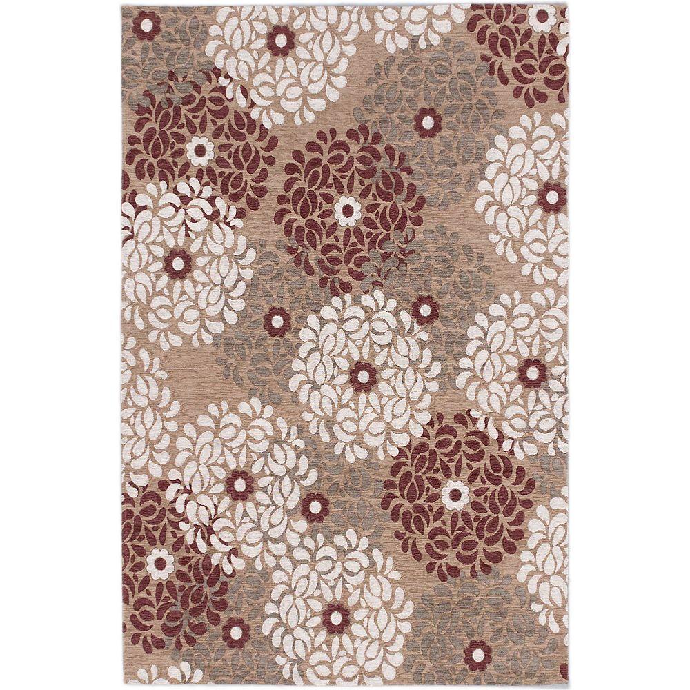 ECARPETGALLERY Carpette d'intérieur, 4 pi x 6 pi, style transitionnel, rectangulaire, havane Portico