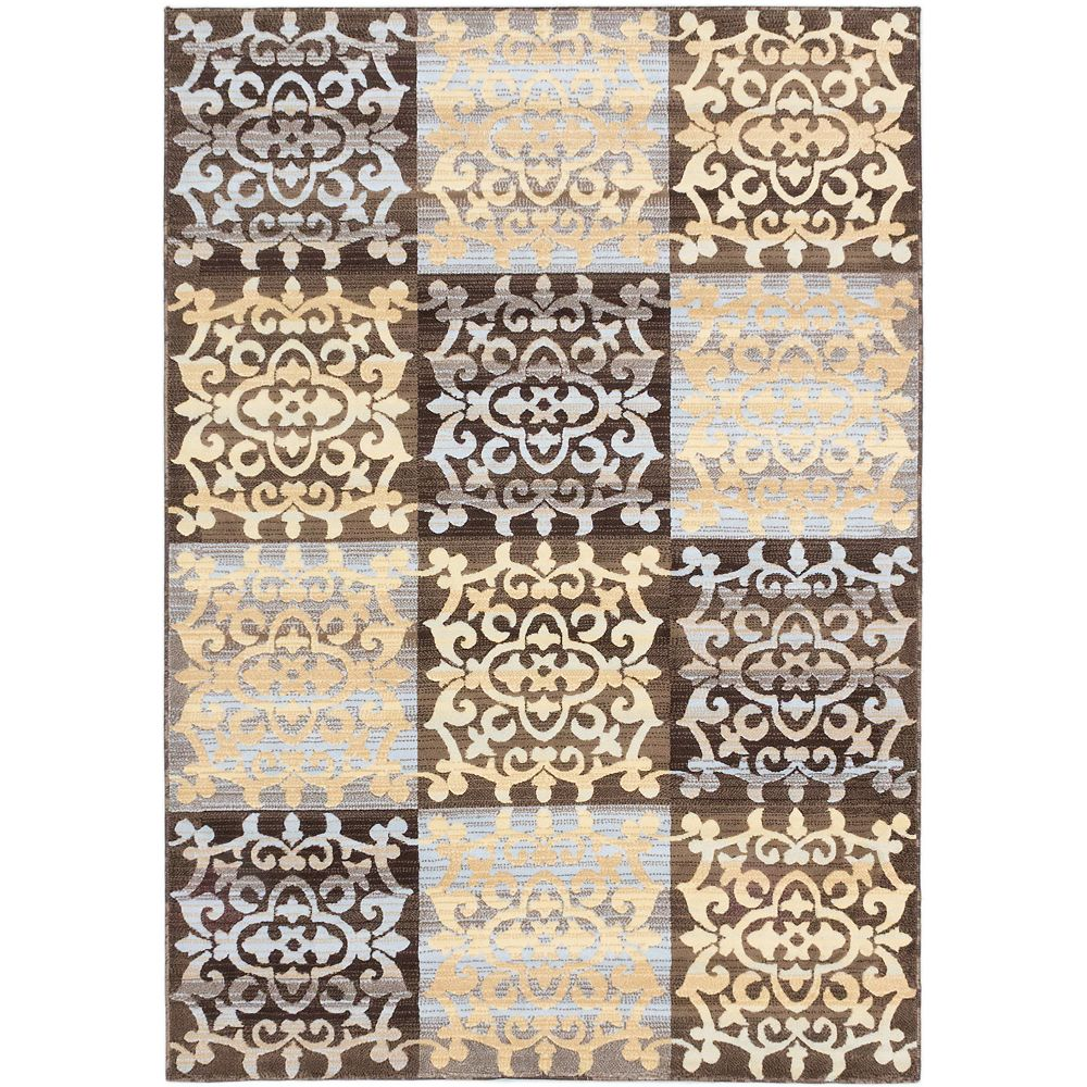 ECARPETGALLERY Carpette d'intérieur, 5 pi 3 po x 7 pi 7 po, style transitionnel, rectangulaire, brun Crown