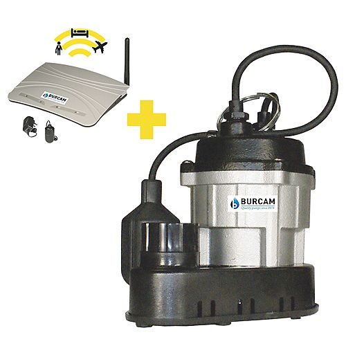 BURCAM 1/2 HP submersible sump pump & alarm package