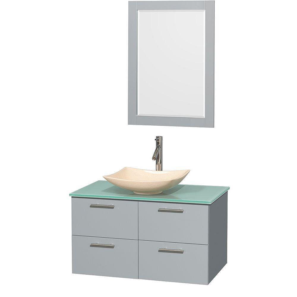"""Wyndham Collection Meuble s. bains simp Amare 36"""" gris colombe, comptoir verre vert, évier marbre ivoire, mir 24"""""""