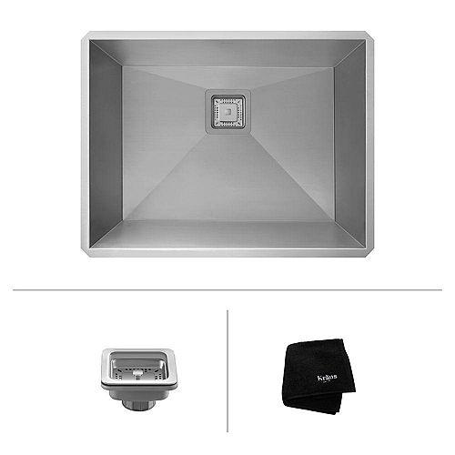 Pax Zero-Radius 24-inch 18 Gauge Handmade Undermount Single Bowl Stainless Steel Laundry/Utility Sink