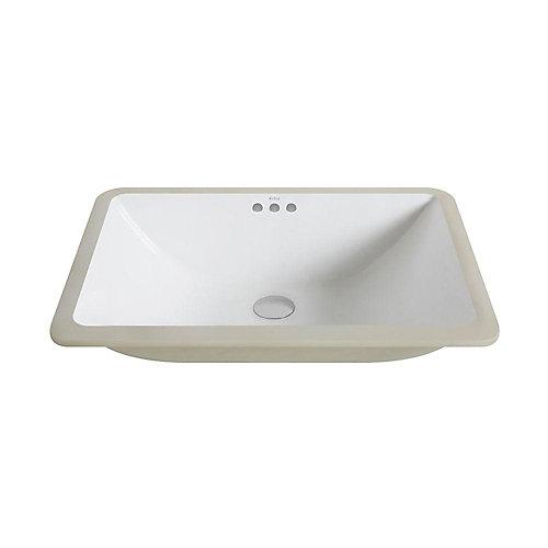 Large  évier encastré pour la salle de bain, de couleur blanche, en céramique, de forme rectangulaire avec trop-plein