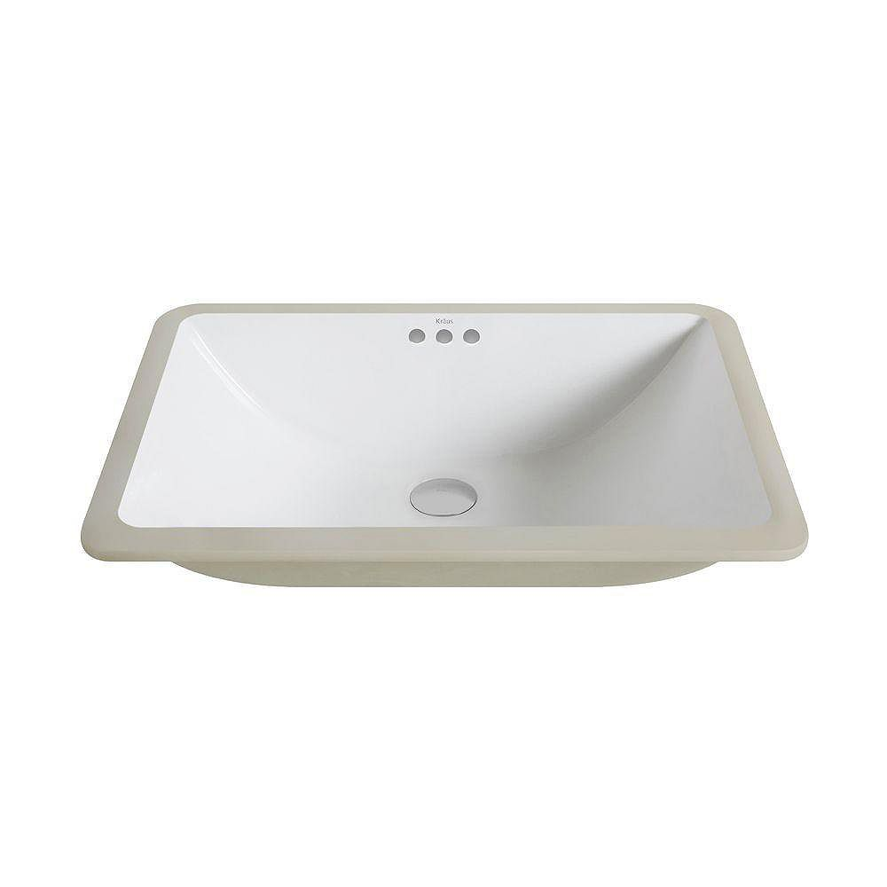 Kraus Elavo Large Ceramic Rectangular Undermount Bathroom Sink With Overflow In White The Home Depot Canada