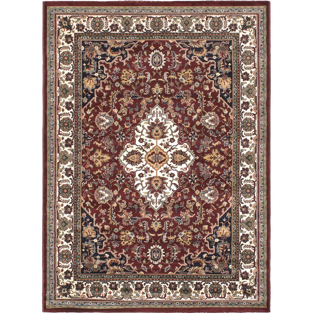 ECARPETGALLERY Carpette d'intérieur, 5 pi 6 po x 7 pi 6 po, style traditionnel, rectangulaire, rouge Medallion