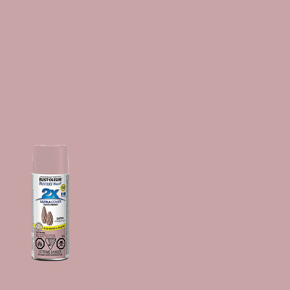 Rust-Oleum Painter's Touch 2X Ultra Cover Multi-Purpose Paint And Primer in Satin Vintage Blush, 340 G Aerosol Spray Paint