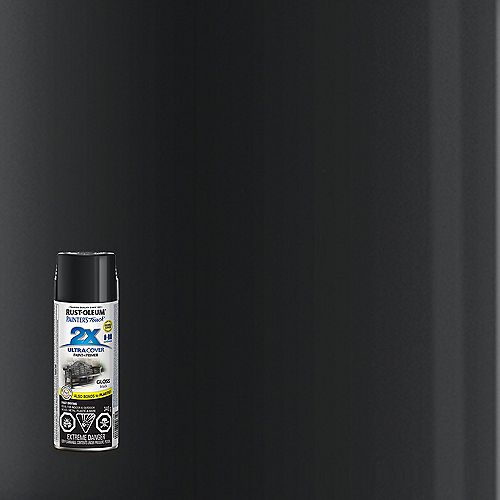 Ultra Cover Multi-Purpose Paint And Primer in Gloss Black, 340 G Aerosol Spray Paint