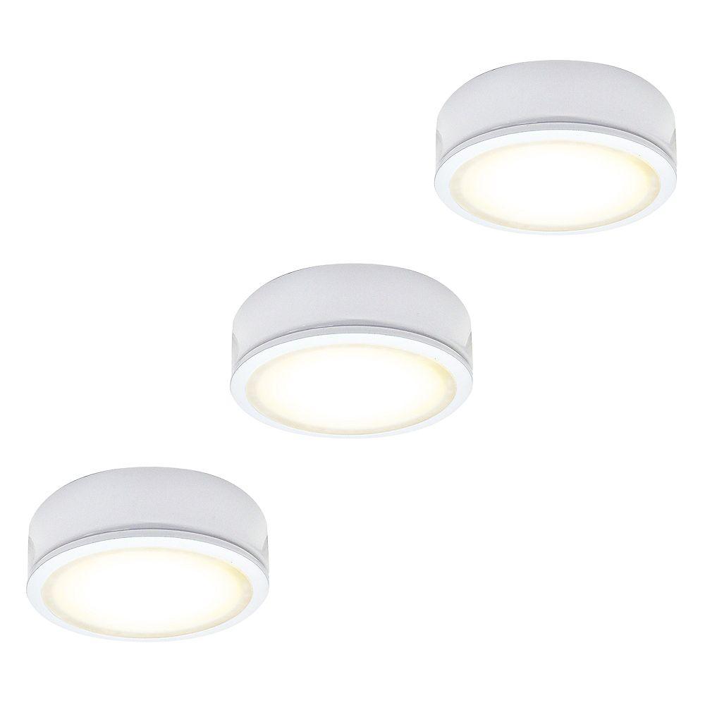 Illume 2.75-inch White Metal LED 120V 3000K Puck Kit (3-Pack)