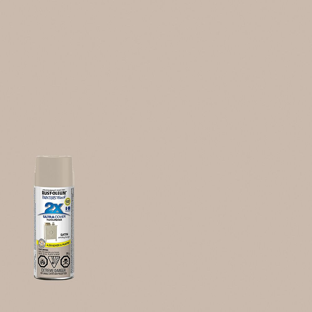 Rust-Oleum Painter's Touch 2X Ultra Cover Multi-Purpose Paint And Primer in Satin Smokey Beige, 340 G Aerosol Spray Paint