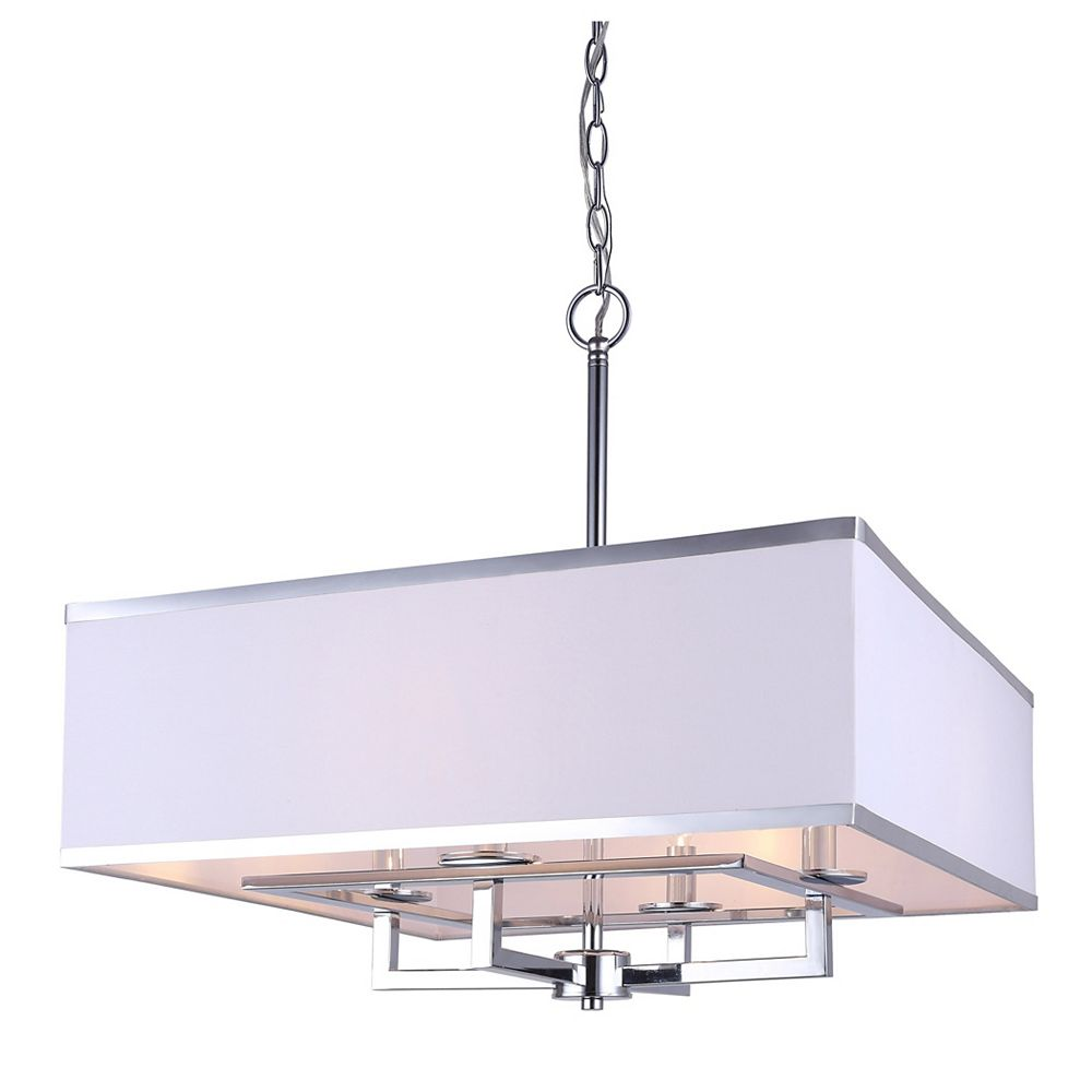 Canarm Vienna 4L Chrome Chandelier with White Fabric Shade