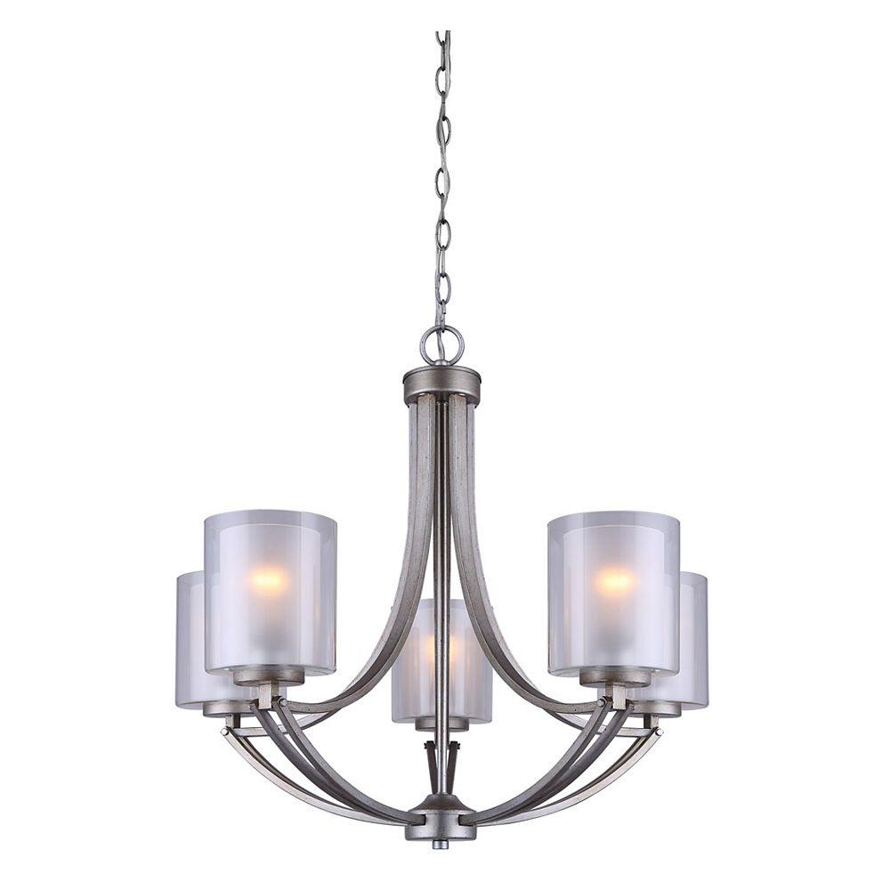 Canarm Bay 5-Light Historic Gold Chandelier with Clear and Frosted Double Glass