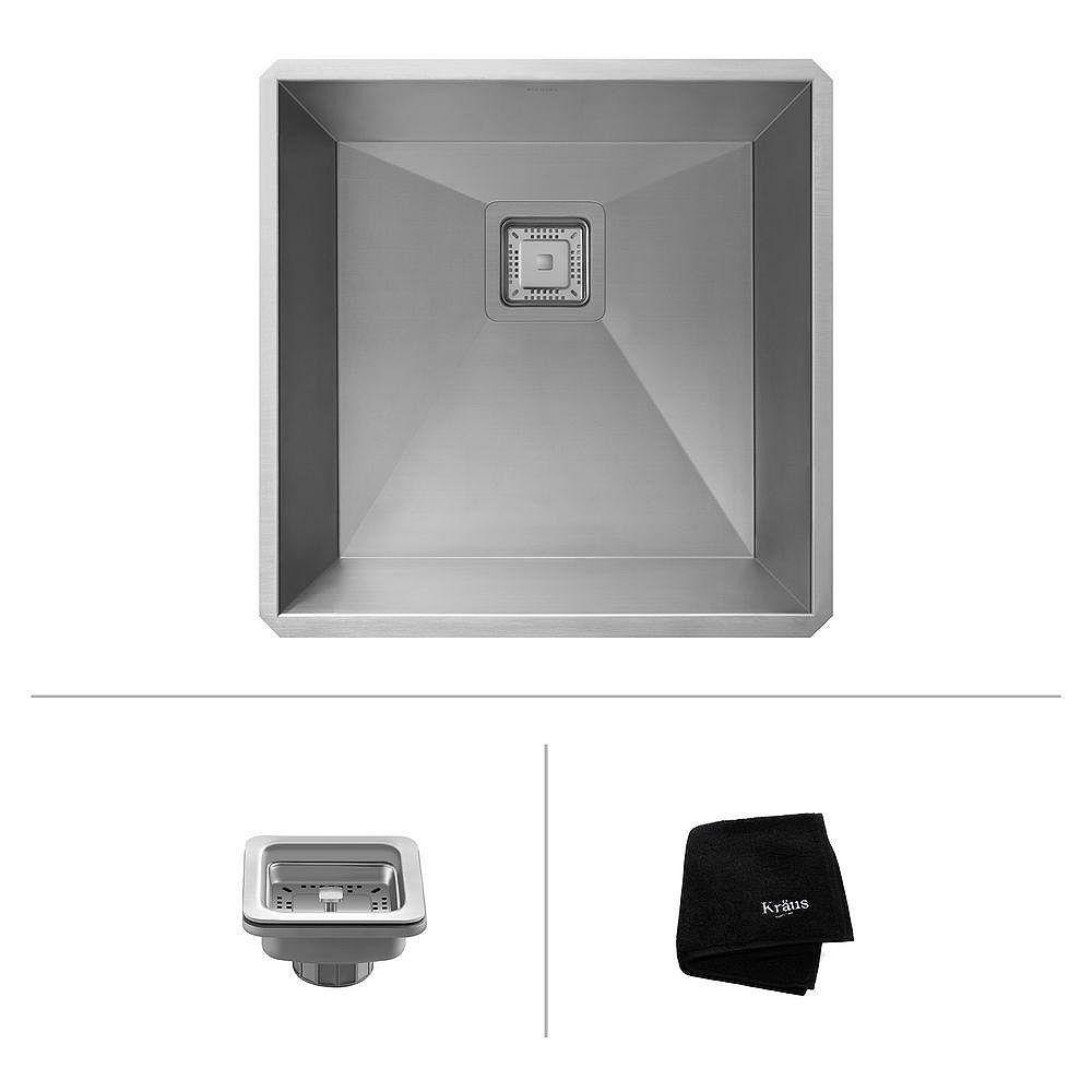 Kraus Pax Zero-Radius 18 1/2 Inch 18 Gauge Handmade Undermount Single Bowl Stainless Steel Bar/Prep Sink