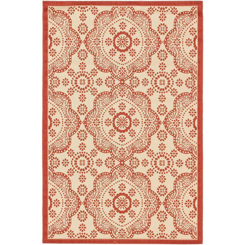 ECARPETGALLERY Carpette, 6 pi 7 po x 9 pi 4 po, rectangulaire, rouge Ankara