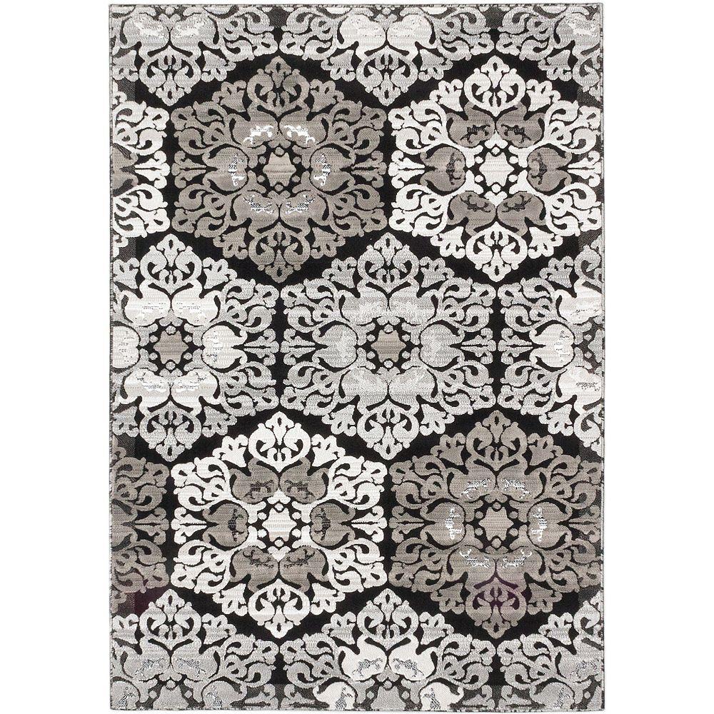 ECARPETGALLERY Carpette, 6 pi 7 po x 9 pi 6 po, rectangulaire, noir Crown