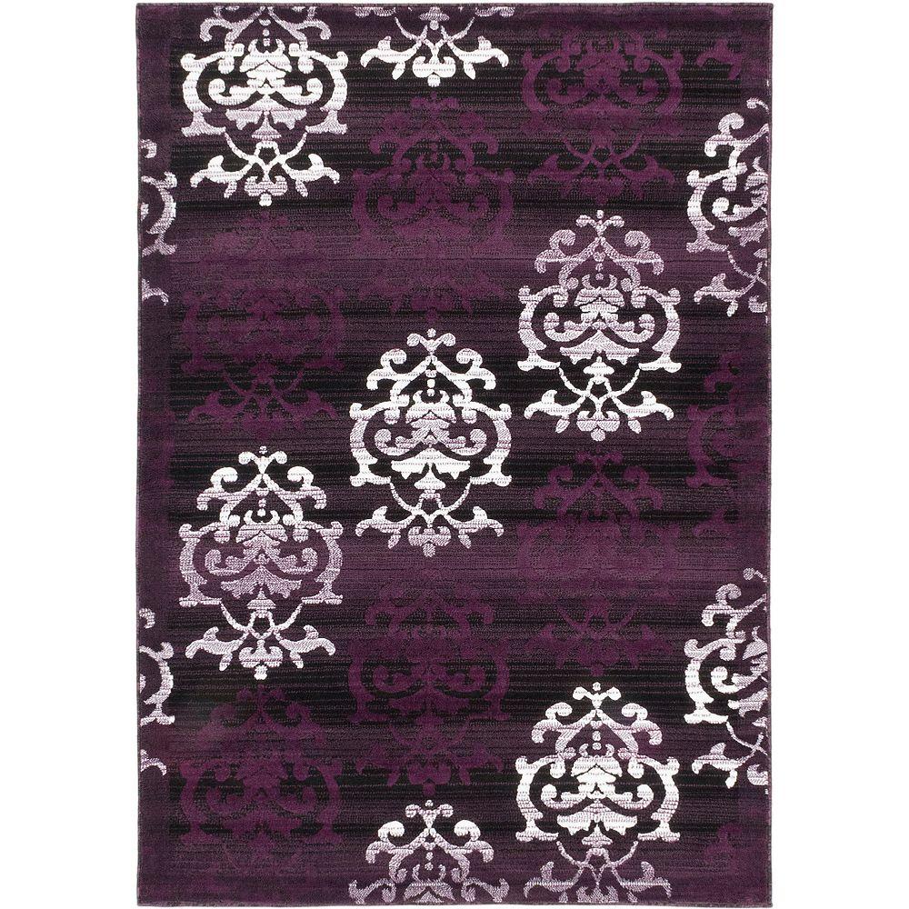 ECARPETGALLERY Crown Purple 3 ft. 11-inch x 5 ft. 3-inch Rectangular Area Rug