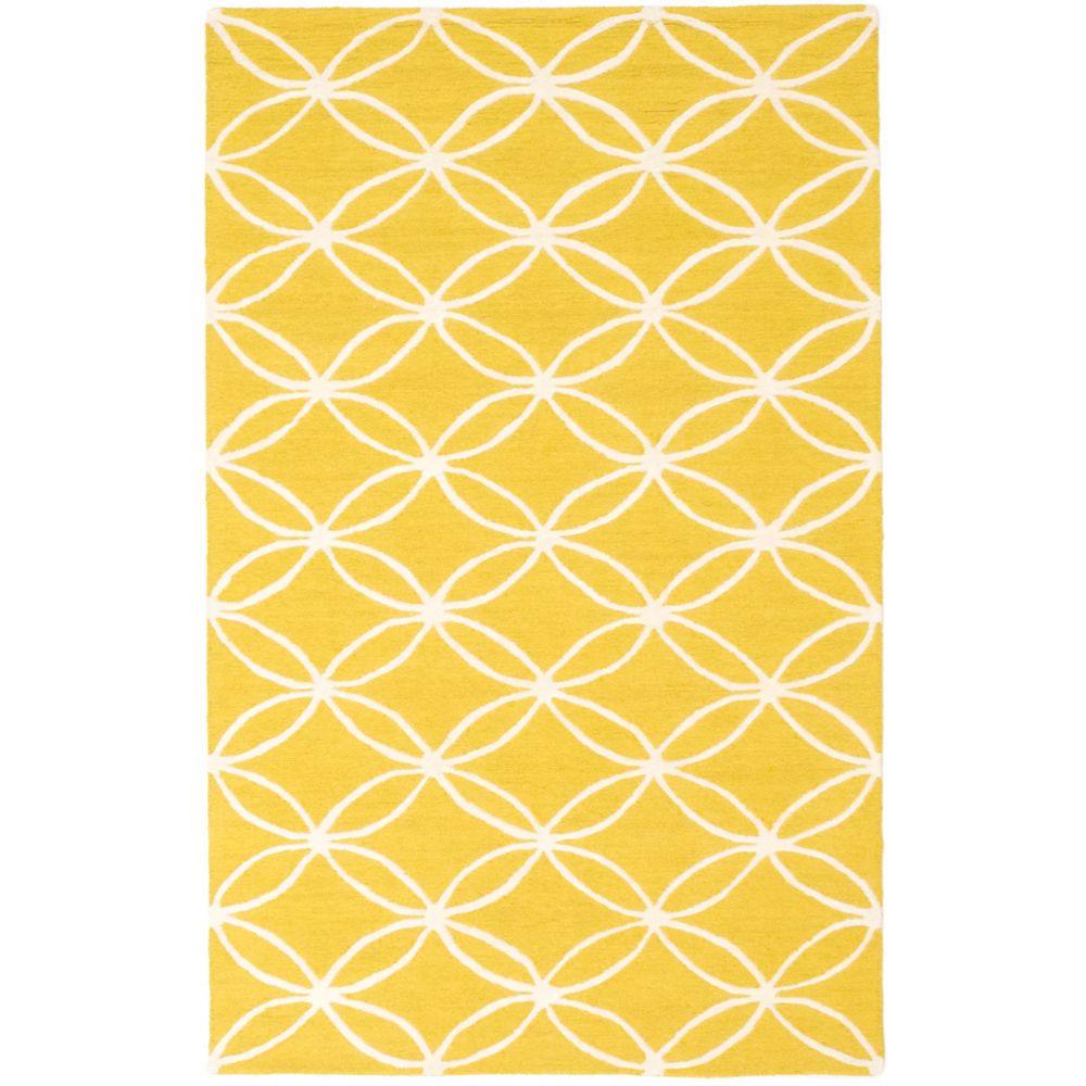 ECARPETGALLERY Baroque Yellow 5 ft. x 8 ft. Rectangular Area Rug