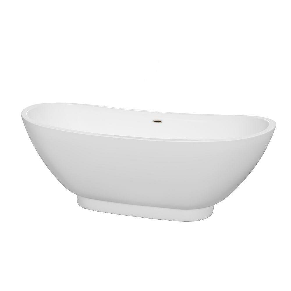 Wyndham Collection Clara 5 Feet Freestanding Bathtub with Brushed Nickel Drain and Overflow Trim in White