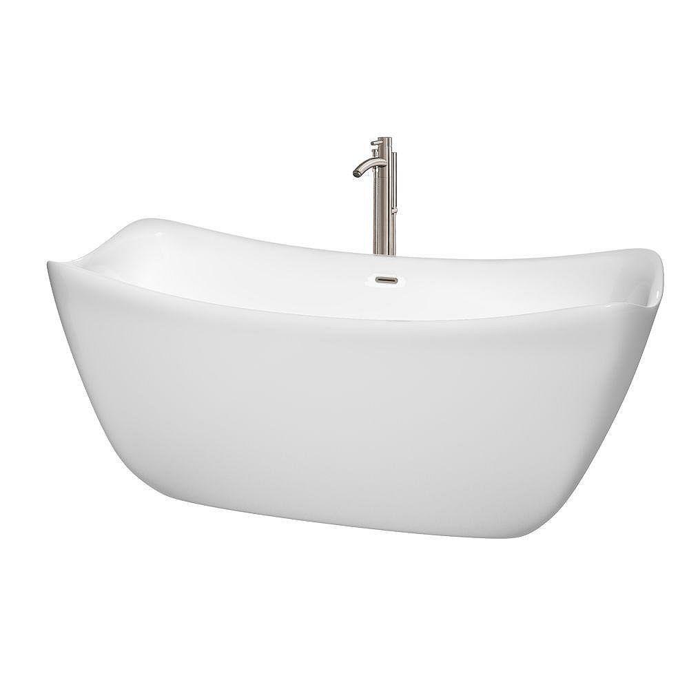 """Wyndham Collection Baignoire autoportante Donna 67"""" blanche, robinet, drain et trop-plein en finition nickel brossé"""