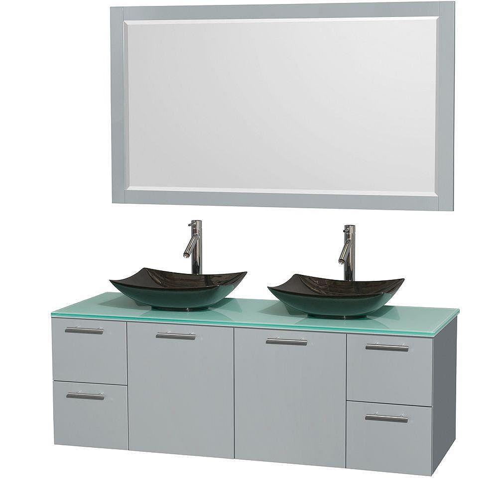 """Wyndham Collection Meuble s. bains dbl Amare 60"""" gris colombe, comptoir verre vert, éviers granit noir, mir 58"""""""