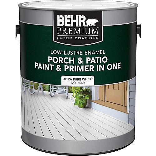 Porch & Patio Paint &Primer In One, Low Lustre Enamel - Ultra Pure White, 3.7 L