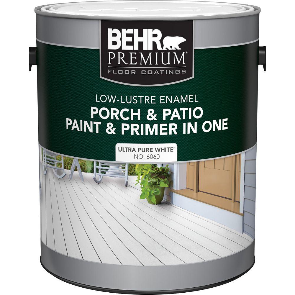 Behr Premium Peinture et apprêt en un pour galeries et patios, émail lustre doux - Blanc ultra pur, 3,7 L