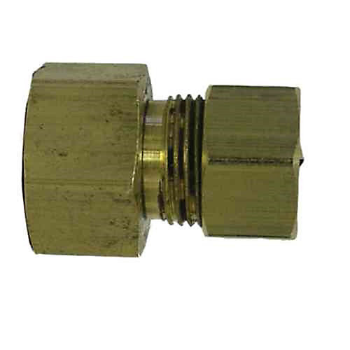 3/8 inch x 1/4 inch Brass Female Compression x Compression Adapter